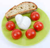 Mediterranean diet italian bread and tomato and mozzarella chees — Stock Photo