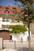 Walk on the sunny streets of Ljubljana — Stock Photo