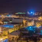 Winter evening snowy Vilnius, Gediminas — Stock Photo #59529375