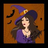 Witch Happy Halloween — Stock Vector