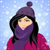 Girl of Winter. Portrait of young girl in a winter cap and a scarf — Stock Vector