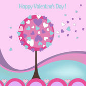 Happy valentines day cards with love tree — Stock Vector