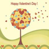 Happy valentines day cards with love tree — Vettoriale Stock