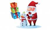 Santa and snowman bring gift box in Christmas — Stock Vector