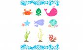 Sea Life Icon Set — Stock Vector