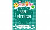 Happy Birthday Card Blue — Stock Vector