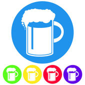 Vector illustration of beer in mug icon. Flat design style butto — Stock Vector