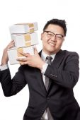Asian businessman hold 3 box on his shoulder and smile — Stock Photo