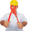 Asian engineer man hold red pipe wrench focus at the wrench — Stock Photo #53867169