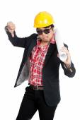 Asian engineer man in bad mood show his  thumb down — Stock Photo