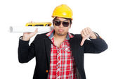 Inżynier azjatycki człowiek Pokaż kciuk w dół — Zdjęcie stockowe