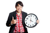 Asian man thumbs up at 4 o'clock — Zdjęcie stockowe