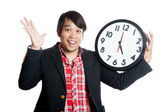 Asian man very happy finish work at five — Stockfoto