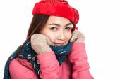 Happy Asian girl with red christmas hat and scarf feel cold — Stock Photo