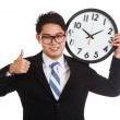 Asian businessman thumbs up with a clock — Stock Photo #57872129