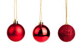 Three of red christmas tree baubles — Foto Stock