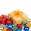 Christmas tree bauble ,ornament and gift box — Stock Photo #58443733