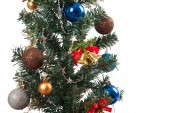 Close up of christmas tree with ornament, bauble, and decoration — Stock Photo