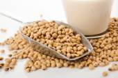 Soy milk in glass with soybeans and  transfer scoop — Stock Photo