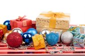 Christmas tree bauble ,ornament and giftbox — Stock Photo