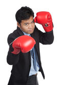 Asian businessman ready to fight — Stock Photo