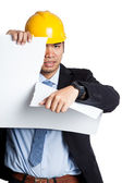 Angry Asian engineer man tear out paper — Stock Photo
