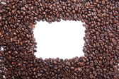 Roasted coffee beans with rectangular copy space — Stock Photo