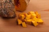 Diced ripe orange pumpkin — Stock Photo