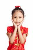 Asian girl in chinese cheongsam dress — Stock Photo