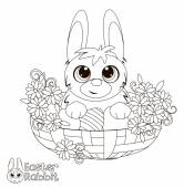 Bunny in a basket. Coloring book. — Stock Vector