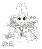 Little Easter Bunny. Coloring book — Stock Vector