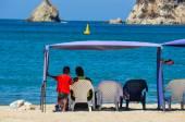 Father & Son at the beach, Rocadero, Colombia — Stock Photo