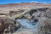 Mudpools in Geysers Sol Manana, Sur Lipez, South Bolivia — Stock Photo