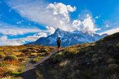 Trekking in Parque Nacional Torres del Paine, Chile — Stock Photo