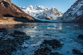 Frozen lake at the Cerro Torre, Fitz Roy, Argentina — Stock Photo