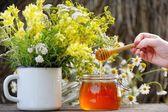 Fragrant, fresh, golden honey in a glass jar. — Photo