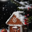 Christmas gingerbread house in the starry night. — Stock Photo #57961611