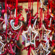 Realistic Christmas decoration hanging with red ribbon — Fotografia Stock  #58755349