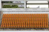Orange empty stadium sport soccer football seat — Stock Photo