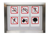 Realistic Six safty caution prohibit sign in the aluminium frame — Stock Photo