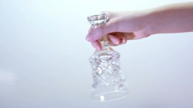 Crystal hand bell on a white background — Stock Video