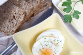 Low carb bread and butter with eggs — Stock Photo