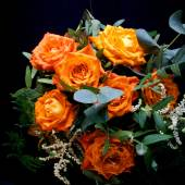 Orange wedding colourful bouquet of flowers — Stock Photo