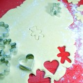 Process preparing the Christmas ginger cookies with molds — Stock Photo