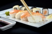 Tasteful sushi with ginger and wasabi — Stock Photo