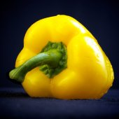 Yellow pepper on black — Stock Photo