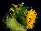 Yellow wedding colourful bouquet of sunflowers — Stock Photo