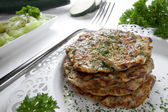 Zucchini corn fritters — Stock Photo