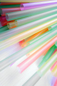 Bright colorful drinking straws on white background — Stock Photo