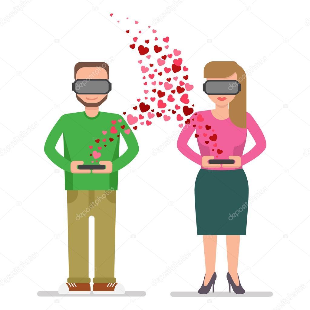Amore virtuale tra un uomo e una donna vettoriali stock for Piani di casa di 4000 piedi quadrati